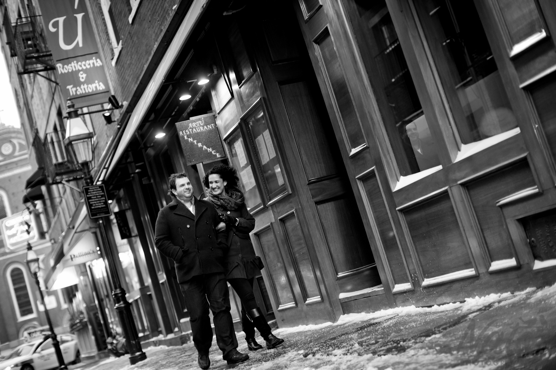 Amelia and james chilly north end engagement session for Adara salon boston