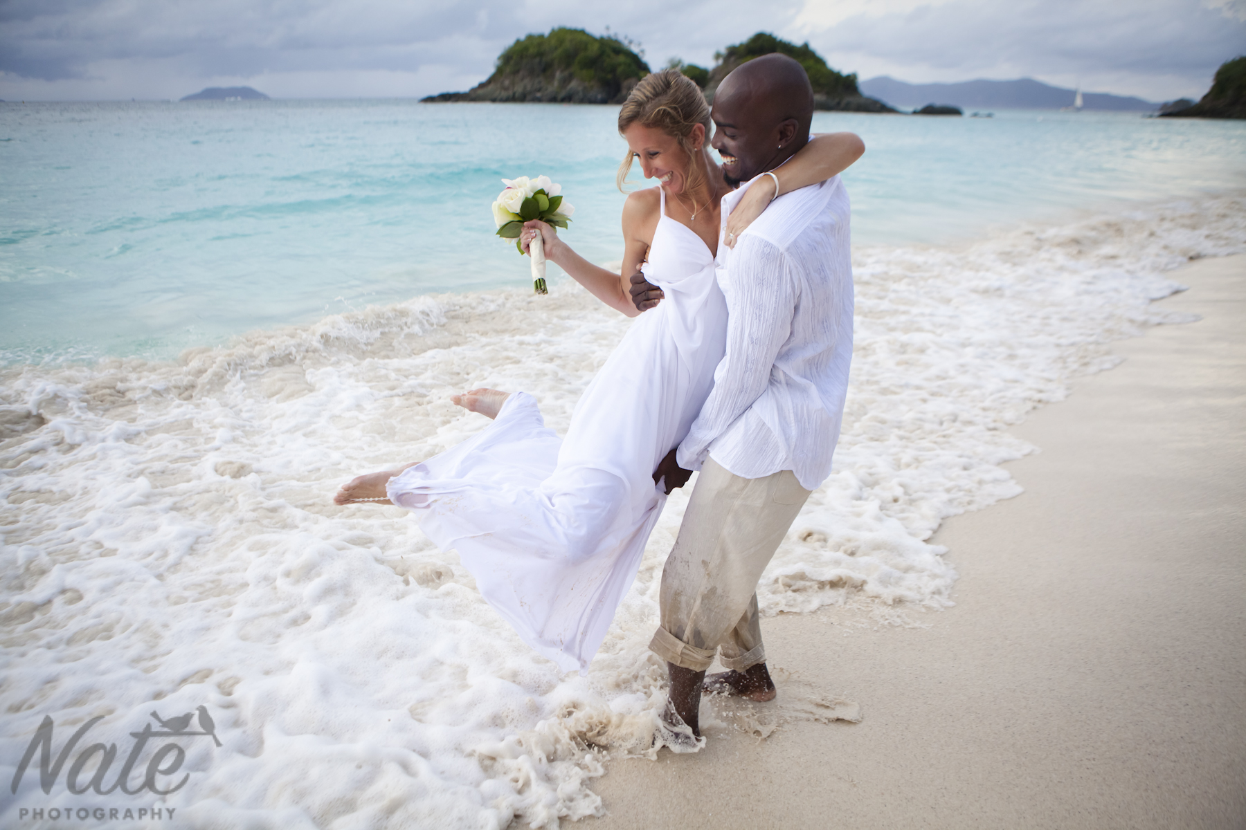 Jessica and Neville are married in Trunk Bay on St John, USVI. Photos by Nate Photography